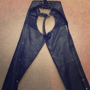 Pants - Motorcycle women's leather riding chaps